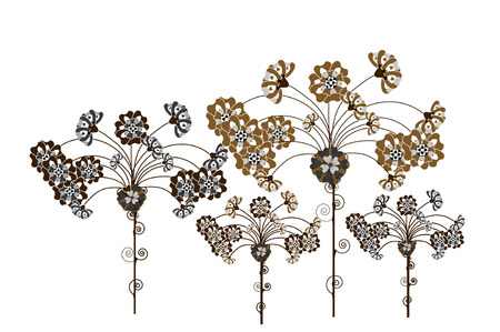 autumn flowers: autumn flowers of the brown colors on a white background Illustration
