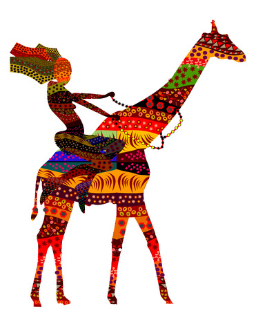 ethnic woman sits on the back of the giraffe in ethnic style Vector