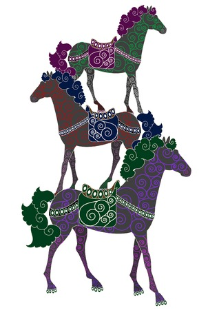 three patterned horses perform a beautiful circus room Vector