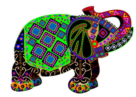 elephant in a traditional ethnic style on a white background Vector