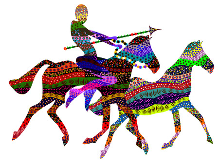 ethnic people with a spear on the back of wild horses