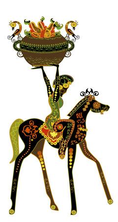 carries: donna fantasia porta frutti selvatici in stile etnico