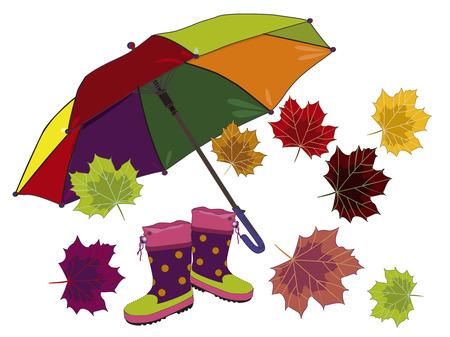 rubberboots: Dach-, Ahorn-Bl�tter und Gummistiefel sind eine sch�ne Herbst-Kit! Illustration