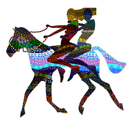 two girls go back to the wild horses in ethnic style Vector
