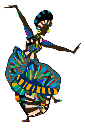 brightly dressed woman cheerfully perform ethnic dance Vector Illustration
