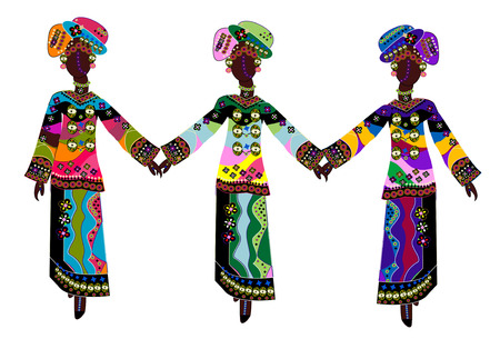 beautiful ethnic women in traditional colorful clothes on a white background Illustration