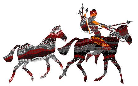 idzie: Mężczyzna jedzie na dzikie konie na polowania w stylu etniczne