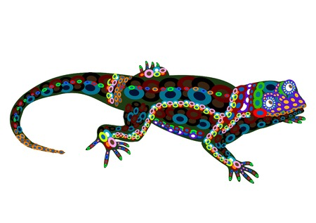 tribalism: Lizard of the color elements in the ethnic style on a white background Illustration