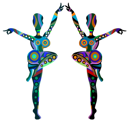 culture character: abstract girls dance ethnic dance on a white background Illustration