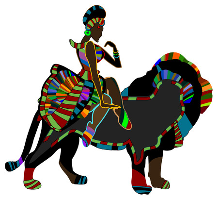 national animal: ethnic woman in the back of a wild cat shows a circus performance Illustration