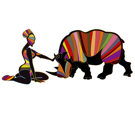 brings: Ethnic abstract woman brings a wild rhino in ethnic style Illustration