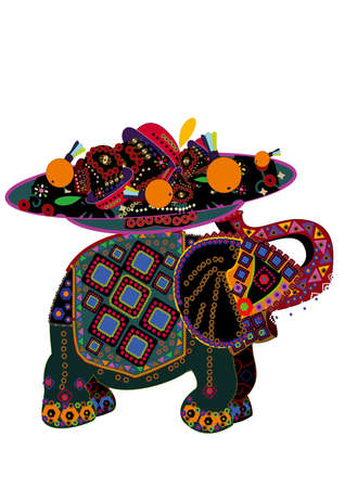 patterned elephant in the ethnic style holding plate of food, which symbolizes wealth and good luck Vector
