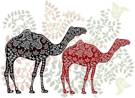 Gemusterte Kamele in der ethnischen Stil des Gehens auf der Zauberwald