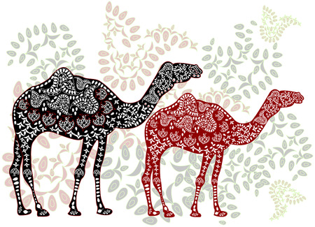 patterned camels in the ethnic style of walking on the magic forest Vector