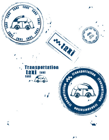 stamps symbolizing the transport and taxis on a white background Vector