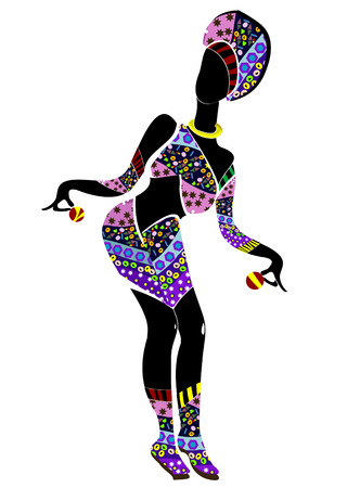danced: patterned woman danced a celebratory dance in the bright ethnic style Illustration