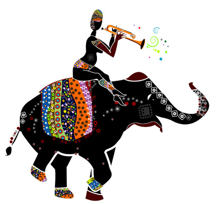 dexterity: man plays a gay music, sitting on the back of his elephant in ethnic style