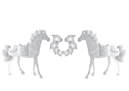 indian family: Two patterned horses symbolize a family that is a beautiful wedding feature