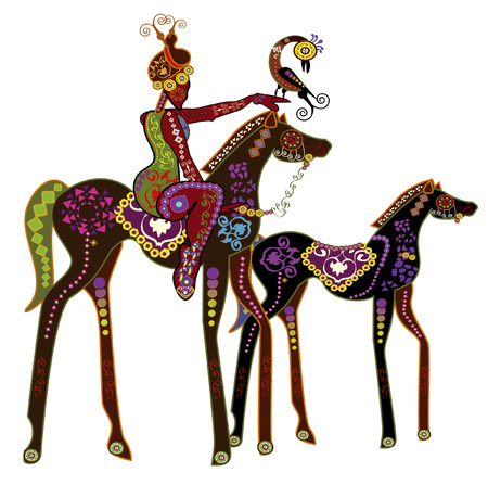 india pattern: The ancient woman in the back of the wild horse going for a walk