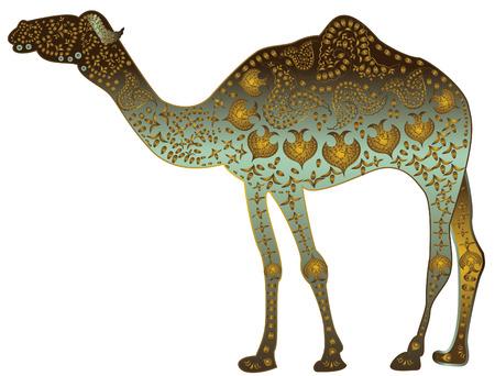 hinduismo: camello con dibujos de joyas de estilo étnico sobre un fondo blanco