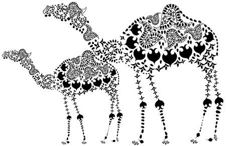 patterned: Two design patterned black camel in ethnic style Illustration