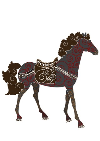 ethnic style: Beautiful patterned horse in ethnic style on a white background Illustration