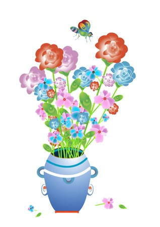 beautiful delicate fragrant flowers in the vase and butterfly Vector