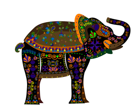 indian ink: patterned elephant from different elements in the ethnic style on a white background