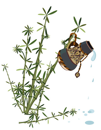 bamboo and ancient jar with water creates a natural freshness Vector