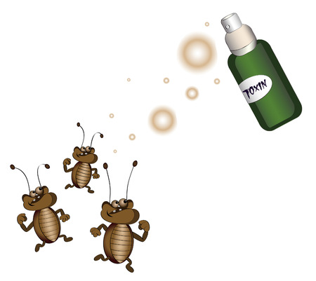 insecticide: cockroaches running away from killing poison on a white background