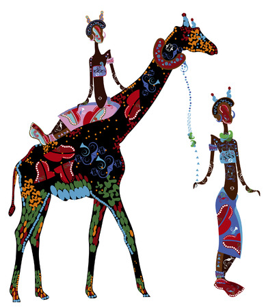 Two women in ethnic style and a giraffe on a white background