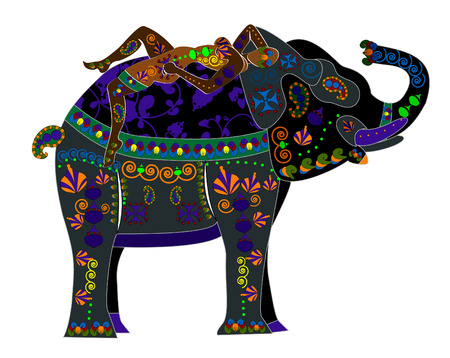 woman resting on the back of an elephant in ethnic style