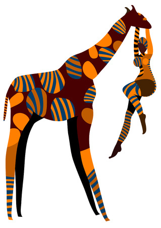 abstract female artist performs circus with a giraffe on a white background