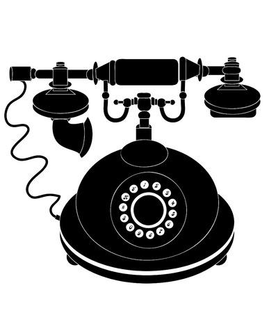 attribute: oude telefoon op een witte achtergrond (de telefoon een onmisbaar attribuut van het moderne leven!) Stock Illustratie