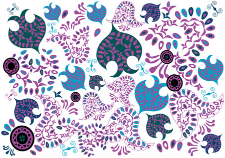 oriental ethnicity: designer soft lilac background with various designs Illustration