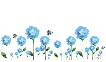 cartoon bouquet: summer background with blue flowers and butterflies