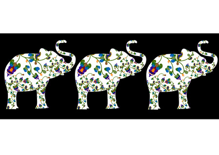 indian ink: beautiful ornament of ornamental elephants from various elements Illustration