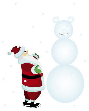 Santa is happy frost, snow and the holiday with a snowman on a white background Stock Vector - 5891723