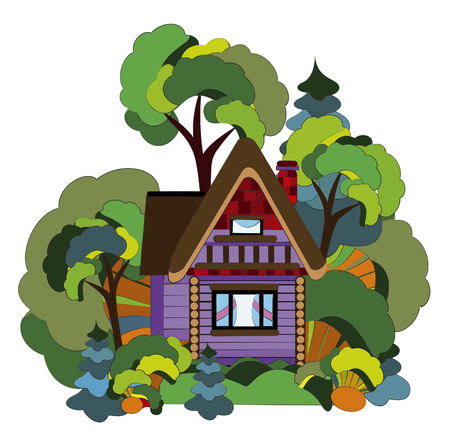 cozy village house from the various elements in the forest Vector