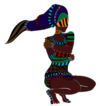 african woman face: donna astratta in stile etnico dei vari elementi su uno sfondo bianco