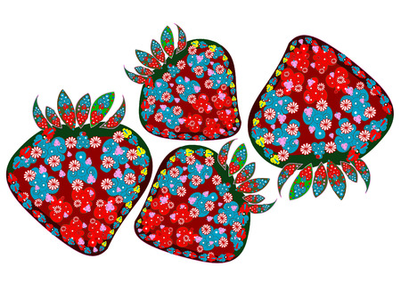 patterned strawberries in the ethnic style on a white background Vector