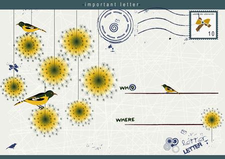 cultivating: tarjeta agradable con p�jaros y flores para su mensaje hermoso Vectores