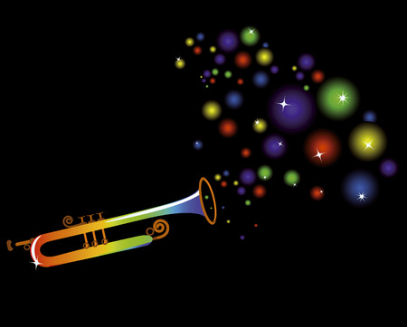 music instruments: musical instrument plays a merry festive music on a black background