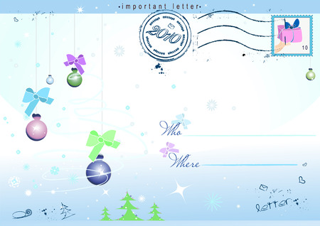 holiday postcard with snowflakes for your very kind letter Stock Vector - 5947631