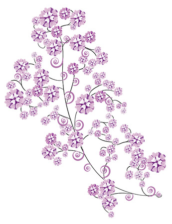 delicate pink stylized flowers on a white background Vector