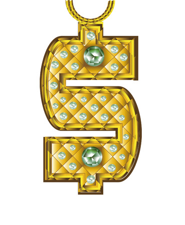 gangsta: precious symbol of money on a white background Illustration