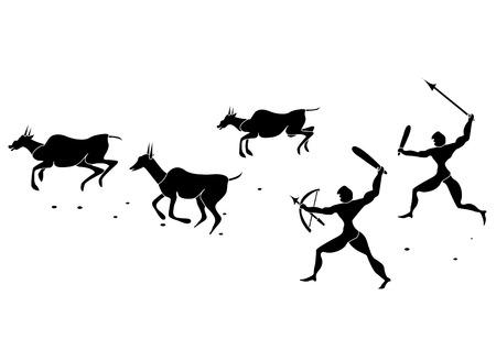 hunted: antigua personas cazaban animales salvajes sobre un fondo blanco  Vectores