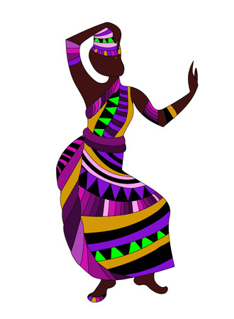woman in traditional dress dancing a beautiful ethnic dance Vector Illustration