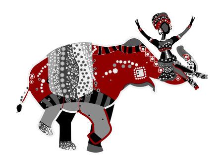 etnia: Circo feliz en estilo étnico con un elefante y acrobat Vectores