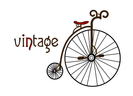 spoke: old bicycle on a white background creates a picture in the style of vintage